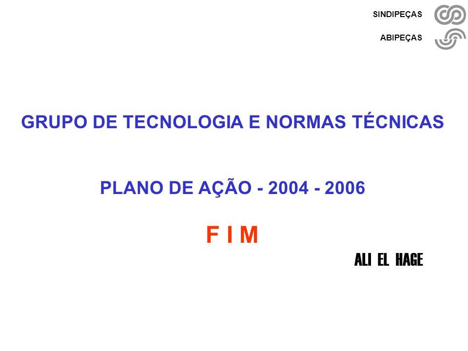 Grupo de Tecnologia - 2004-2006 Ali El Hage - Setembro/ 2004 - pág. 29/27 SINDIPEÇAS ABIPEÇAS GRUPO DE TECNOLOGIA E NORMAS TÉCNICAS PLANO DE AÇÃO - 20