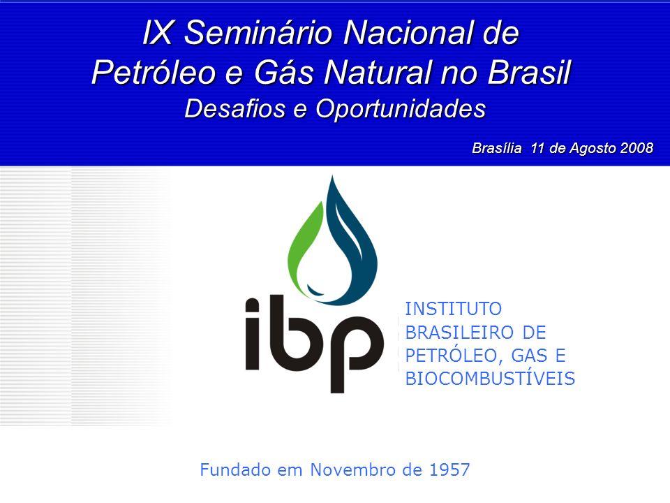 Fundado em Novembro de 1957 IX Seminário Nacional de Petróleo e Gás Natural no Brasil Desafios e Oportunidades Brasília 11 de Agosto 2008 Brasília 11
