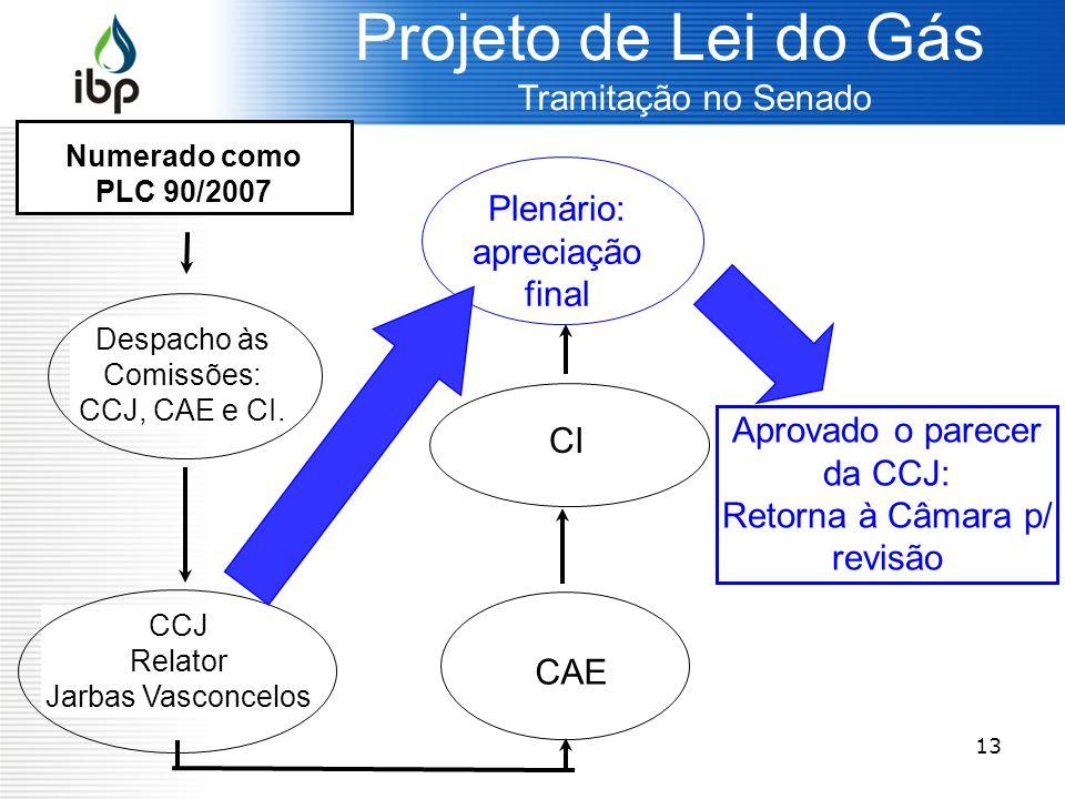 13 Projeto de Lei do Gás Tramitação no Senado Despacho às Comissões: CCJ, CAE e CI. Aprovado o parecer da CCJ: Retorna à Câmara p/ revisão Numerado co