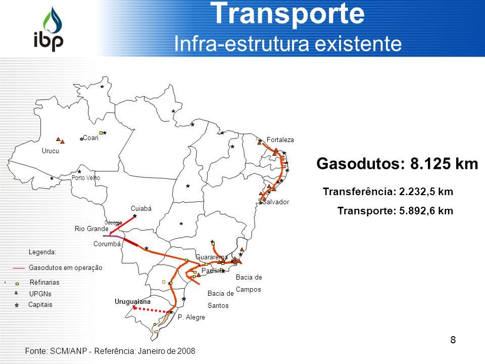 8 Transporte Infra-estrutura existente Gasodutos: 8.125 km Transferência: 2.232,5 km Transporte: 5.892,6 km Salvador