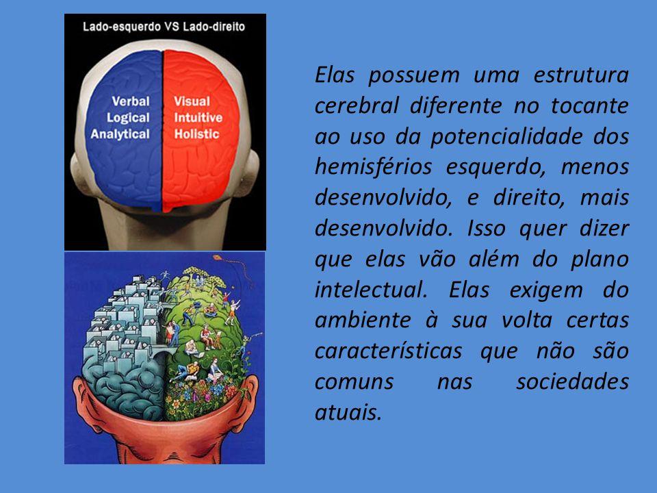 Elas possuem uma estrutura cerebral diferente no tocante ao uso da potencialidade dos hemisférios esquerdo, menos desenvolvido, e direito, mais desenv