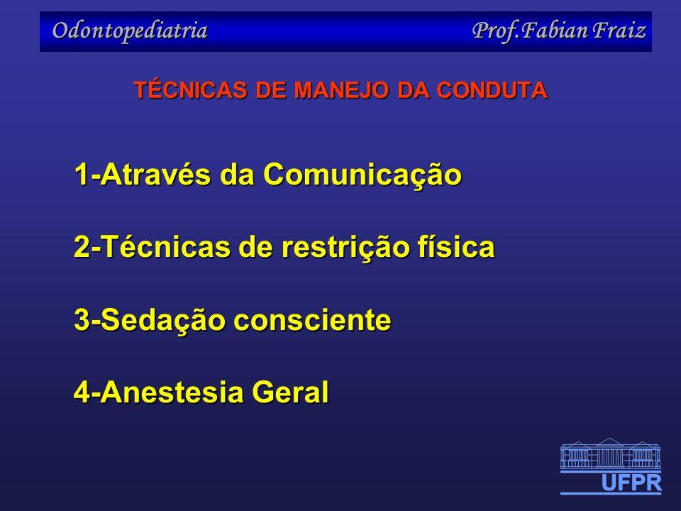 Odontopediatria Prof.Fabian Fraiz TÉCNICAS DE MANEJO DA CONDUTA 1-Através da Comunicação 2-Técnicas de restrição física 3-Sedação consciente 4-Anestes