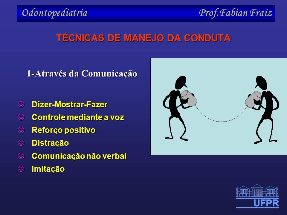Odontopediatria Prof.Fabian Fraiz TÉCNICAS DE MANEJO DA CONDUTA 1-Através da Comunicação Dizer-Mostrar-Fazer Dizer-Mostrar-Fazer Controle mediante a v