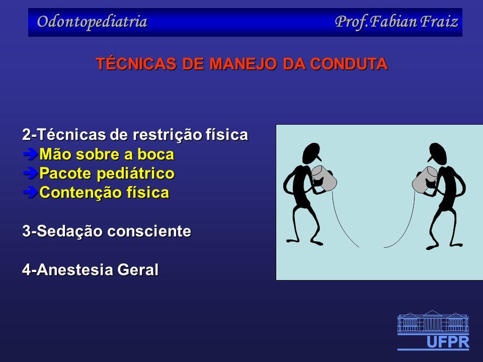 Odontopediatria Prof.Fabian Fraiz 2-Técnicas de restrição física Mão sobre a boca Mão sobre a boca Pacote pediátrico Pacote pediátrico Contenção físic