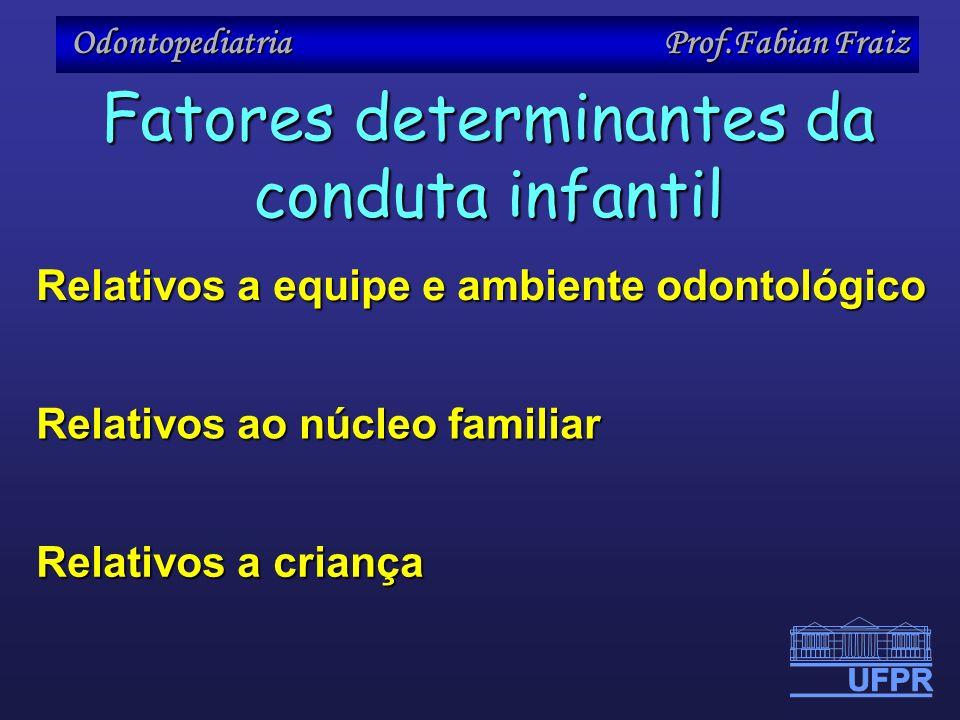Odontopediatria Prof.Fabian Fraiz Relativos a criança Relativos a equipe e ambiente odontológico Relativos ao núcleo familiar Fatores determinantes da