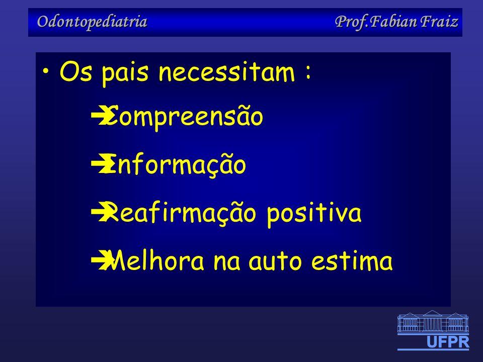 Odontopediatria Prof.Fabian Fraiz Os pais necessitam : Compreensão Informação Reafirmação positiva Melhora na auto estima