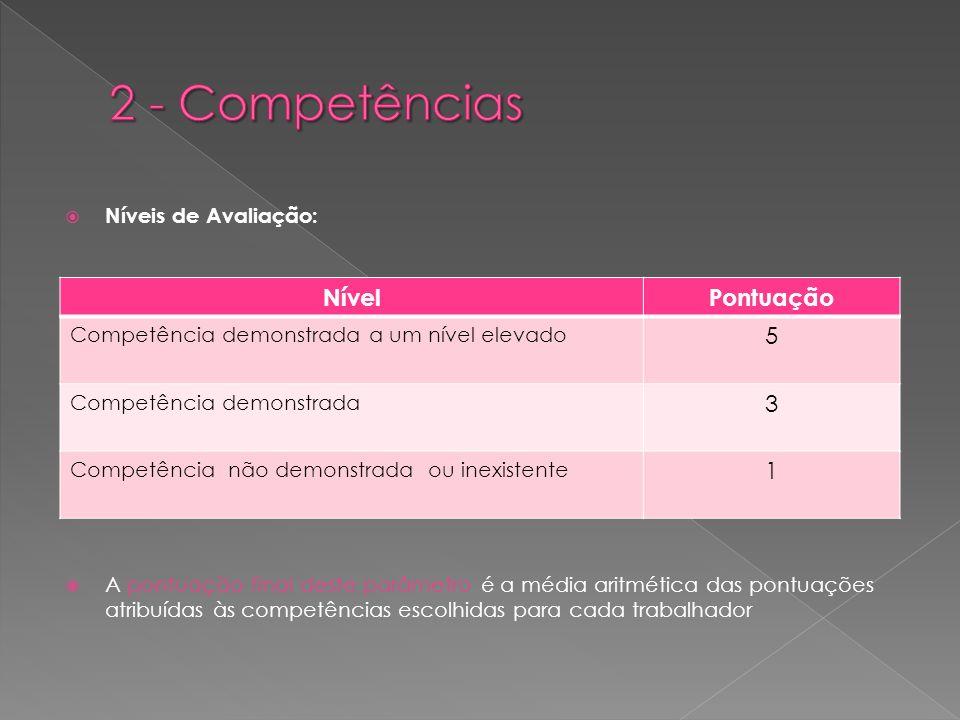Níveis de Avaliação: A pontuação final deste parâmetro é a média aritmética das pontuações atribuídas às competências escolhidas para cada trabalhador NívelPontuação Competência demonstrada a um nível elevado 5 Competência demonstrada 3 Competência não demonstrada ou inexistente 1