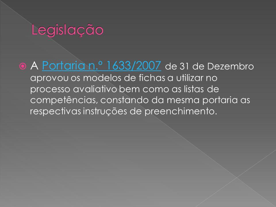 A Portaria n.º 1633/2007 de 31 de Dezembro aprovou os modelos de fichas a utilizar no processo avaliativo bem como as listas de competências, constando da mesma portaria as respectivas instruções de preenchimento.Portaria n.º 1633/2007