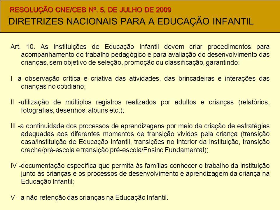 DIRETRIZES NACIONAIS PARA A EDUCAÇÃO INFANTIL Art.