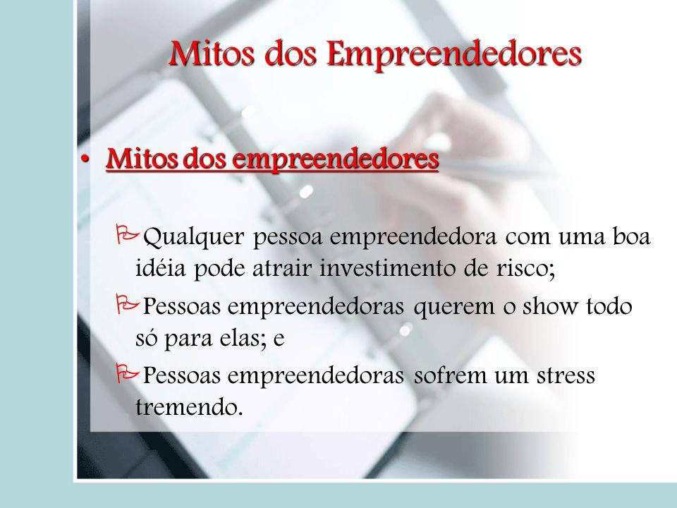 Mitos dos Empreendedores Mitos dos empreendedoresMitos dos empreendedores Qualquer pessoa empreendedora com uma boa idéia pode atrair investimento de