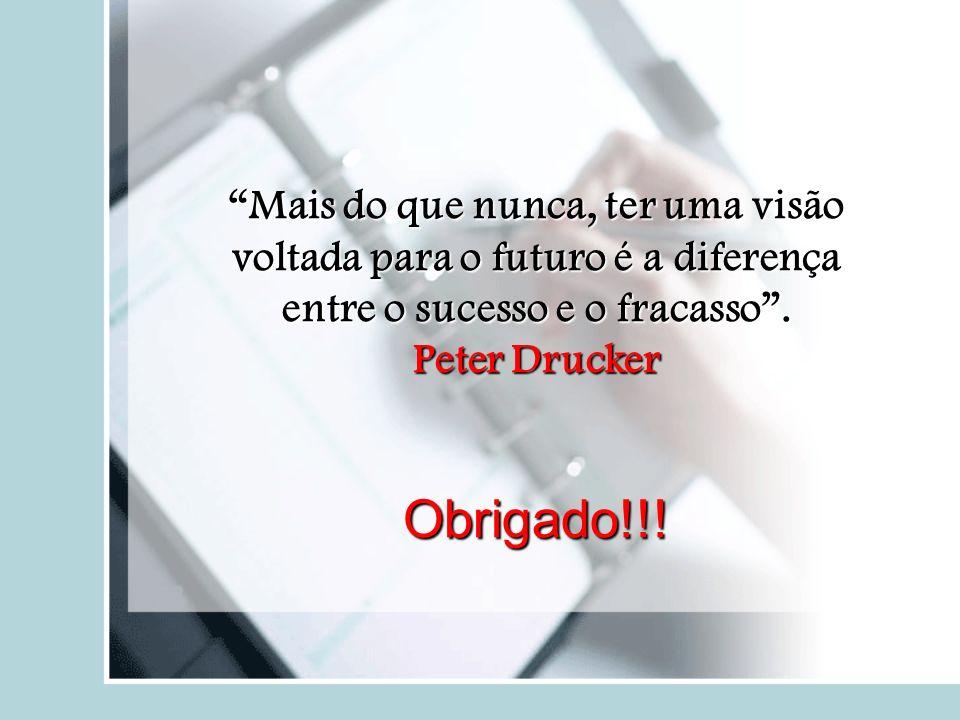Mais do que nunca, ter uma visão voltada para o futuro é a diferença entre o sucesso e o fracasso. Peter Drucker Obrigado!!!