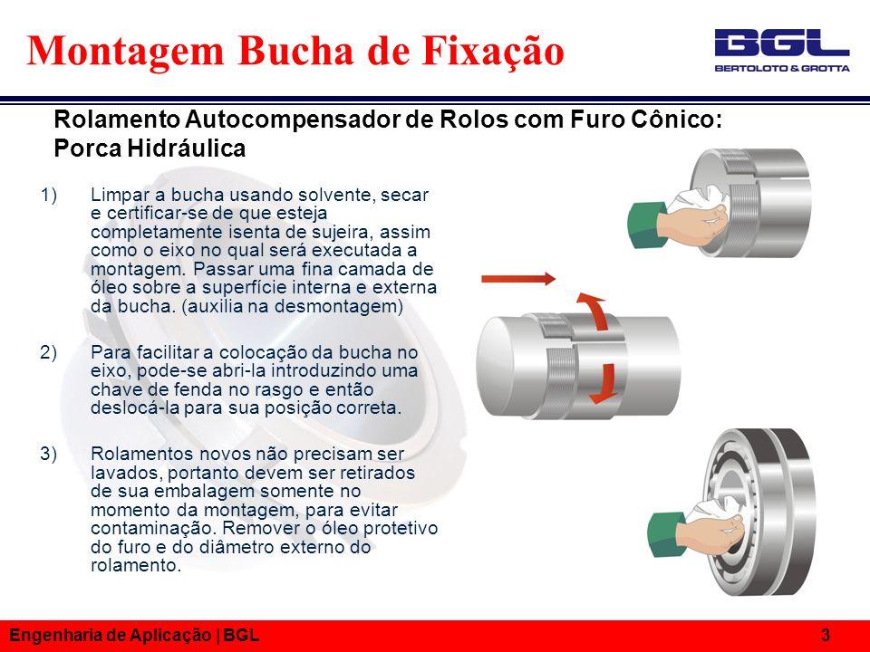 Engenharia de Aplicação | BGL 4 Montagem Bucha de Fixação 4) Com um calibrador de lâminas de 0,03mm ou maiores, medir a folga inicial existente entre o anel externo e o rolo do rolamento que esteja mais livre.