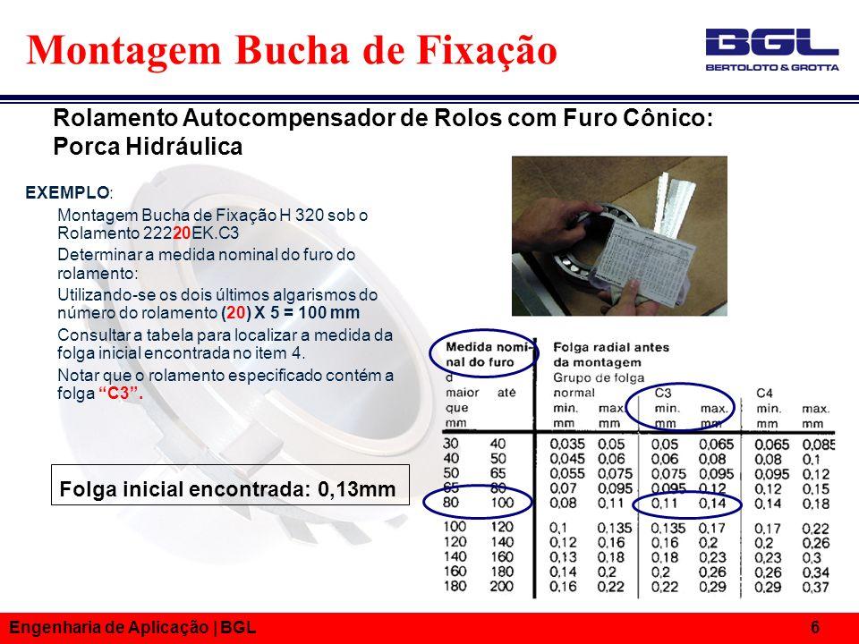 Engenharia de Aplicação | BGL 6 Folga inicial encontrada: 0,13mm Montagem Bucha de Fixação EXEMPLO: Montagem Bucha de Fixação H 320 sob o Rolamento 22