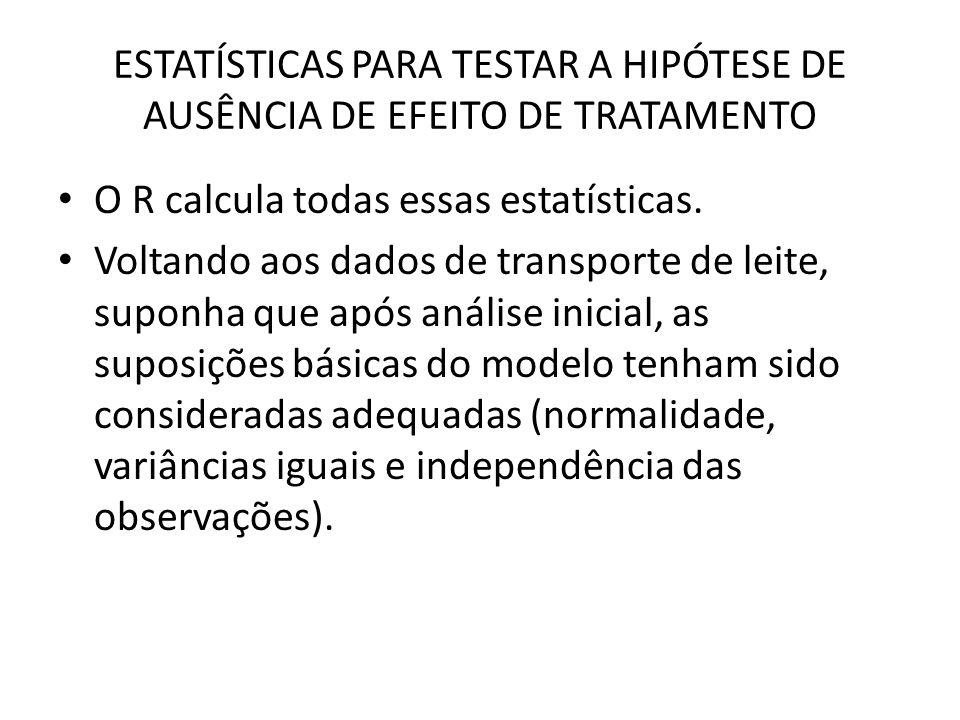 ESTATÍSTICAS PARA TESTAR A HIPÓTESE DE AUSÊNCIA DE EFEITO DE TRATAMENTO O R calcula todas essas estatísticas.
