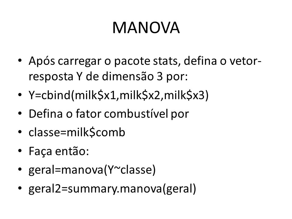 Call: manova(Y ~ classe) Terms: classe Residuals resp 1 19.9576 393.7967 resp 2 134.3407 1039.2641 resp 3 1016.249 1421.979 Deg.