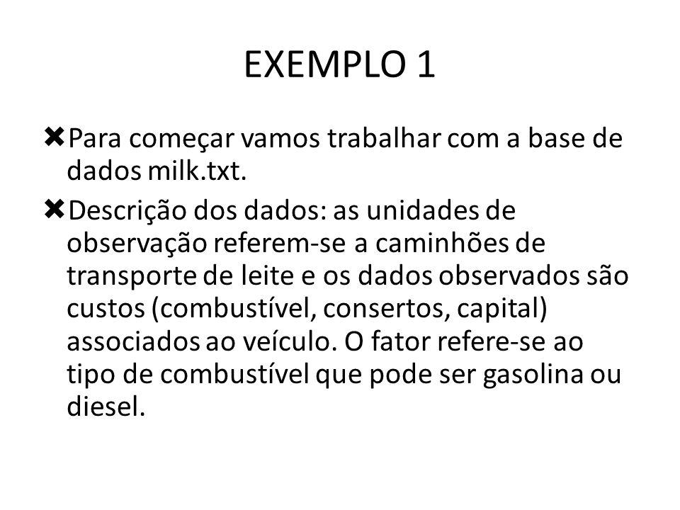 EXEMPLO 1 Para começar vamos trabalhar com a base de dados milk.txt.