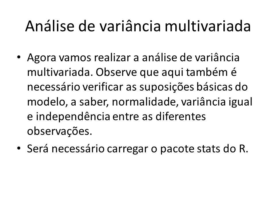 Análise de variância multivariada Agora vamos realizar a análise de variância multivariada.