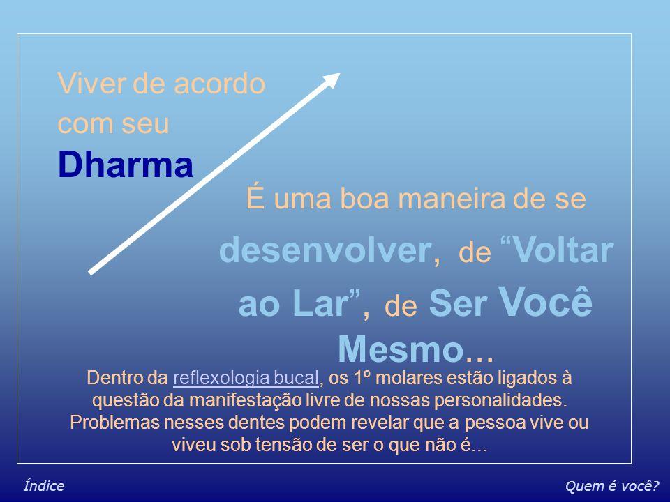 Quem é você?Índice Dharma - O que é Condição + propícia à Evolução Condição na qual se evolui + Facilmente Em sinônimos e similares Seu self Seu eu Su