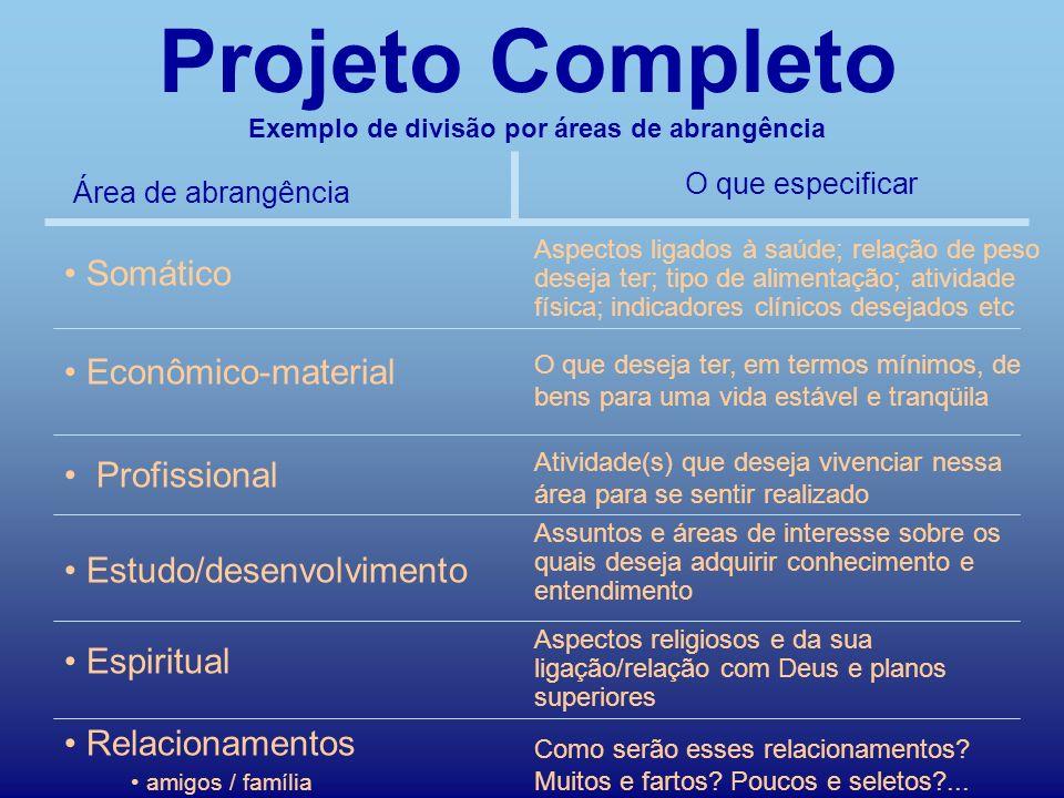 Quem é você?Índice Somático Econômico-material Profissional Estudo/desenvolvimento Escreva seu projeto completo áreas da vida Espiritual Relacionament