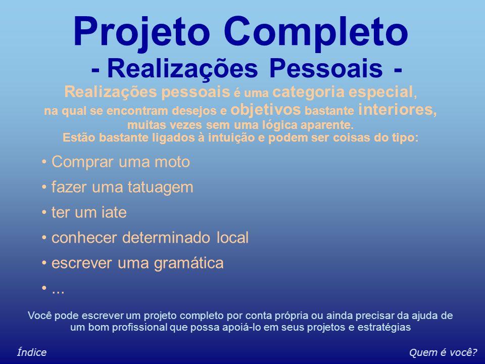 Somático Econômico-material Profissional Estudo/desenvolvimento Espiritual Relacionamentos amigos / família Projeto Completo Exemplo de divisão por ár