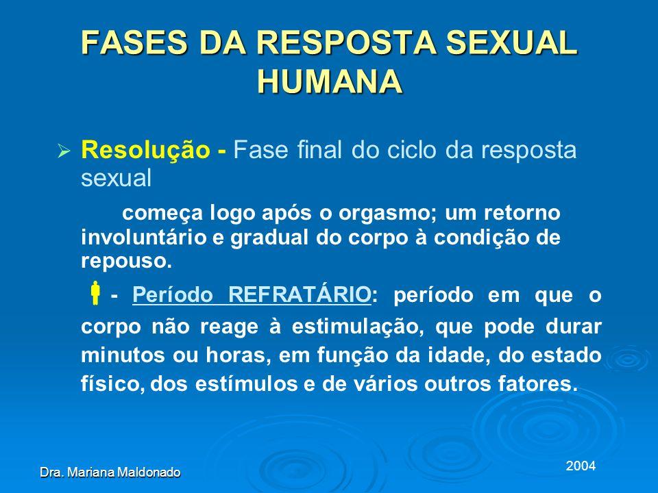 2004 Dra. Mariana Maldonado FASES DA RESPOSTA SEXUAL HUMANA Resolução - Fase final do ciclo da resposta sexual começa logo após o orgasmo; um retorno