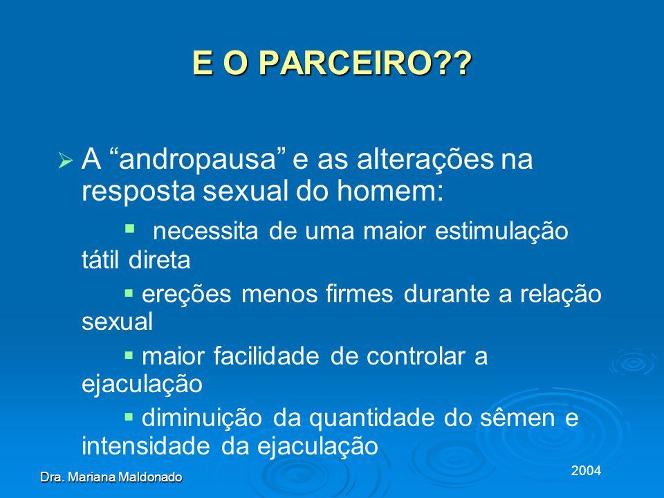 2004 Dra. Mariana Maldonado E O PARCEIRO?? A andropausa e as alterações na resposta sexual do homem: necessita de uma maior estimulação tátil direta e