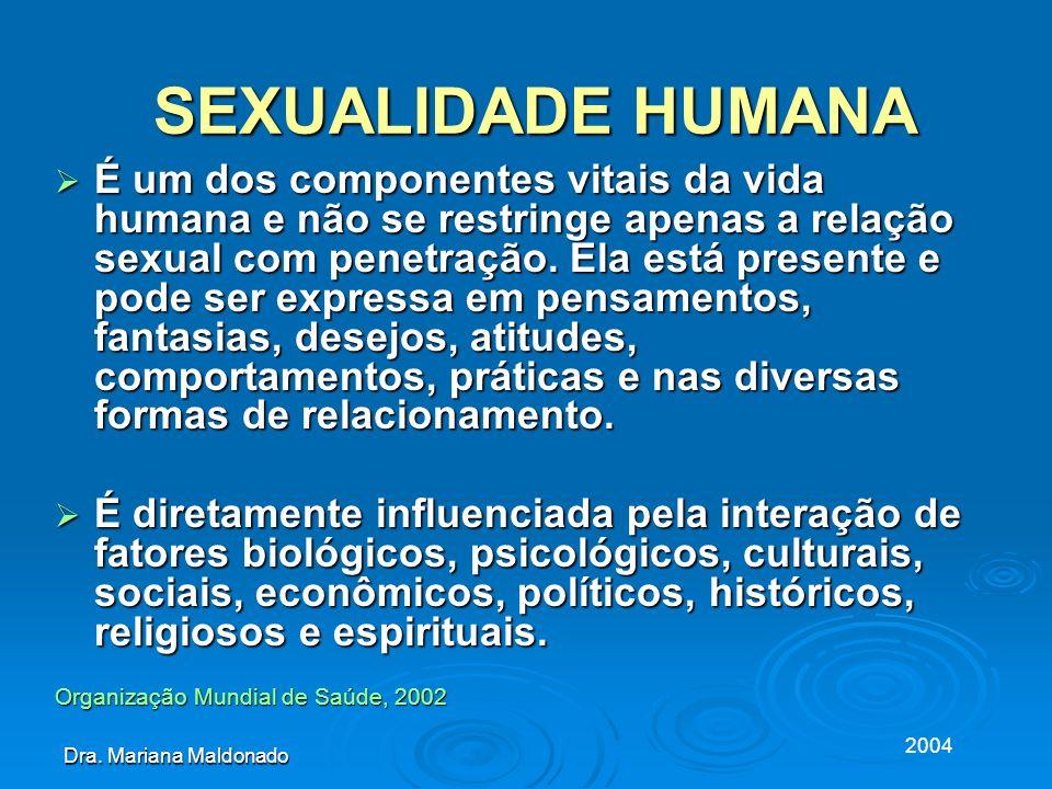 2004 Dra. Mariana Maldonado SEXUALIDADE HUMANA SEXUALIDADE HUMANA É um dos componentes vitais da vida humana e não se restringe apenas a relação sexua