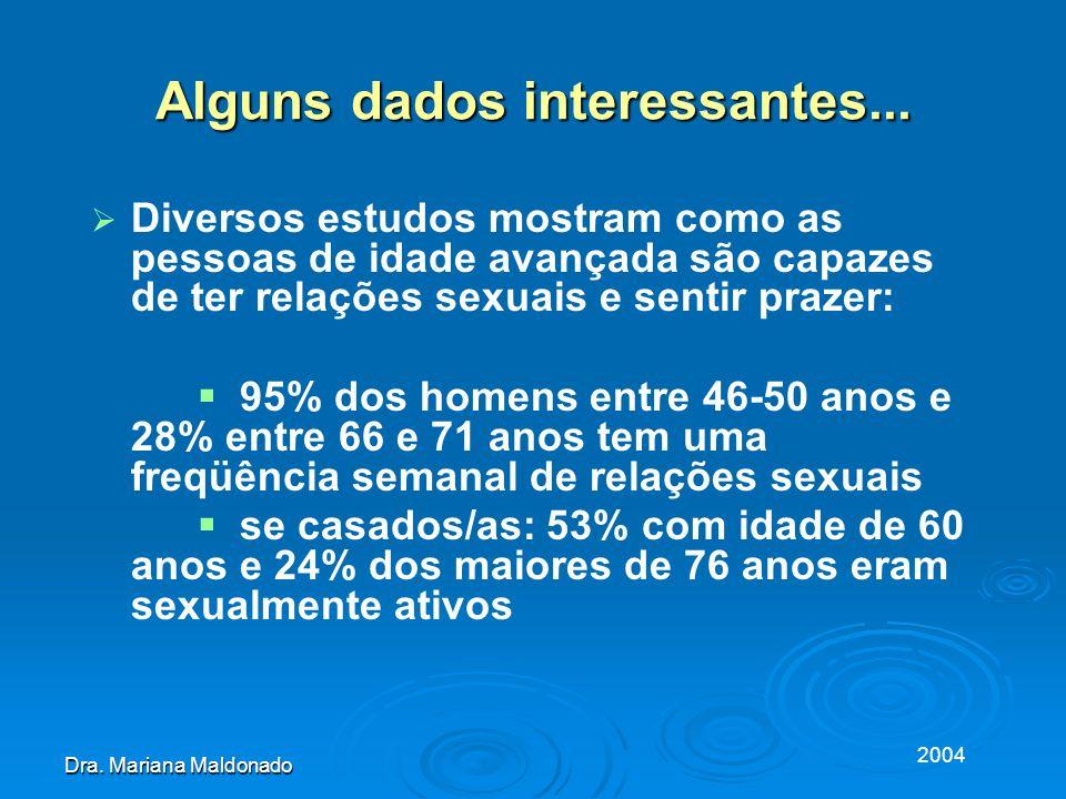 2004 Dra. Mariana Maldonado Alguns dados interessantes... Diversos estudos mostram como as pessoas de idade avançada são capazes de ter relações sexua