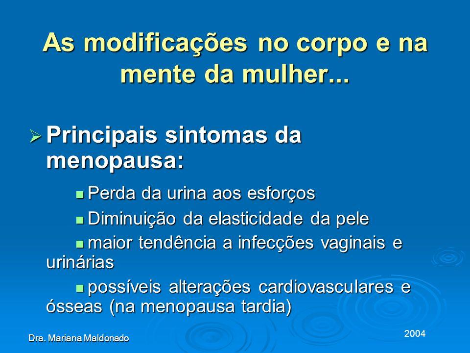 2004 Dra. Mariana Maldonado As modificações no corpo e na mente da mulher... Principais sintomas da menopausa: Principais sintomas da menopausa: Perda