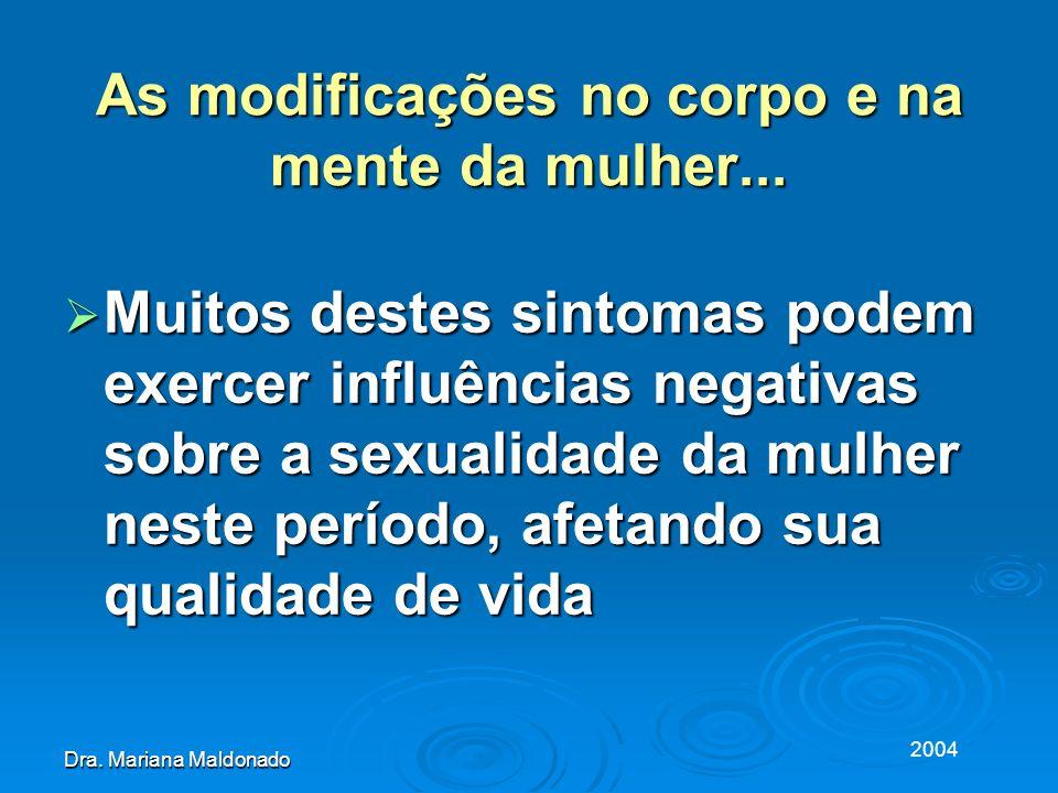 2004 Dra. Mariana Maldonado As modificações no corpo e na mente da mulher... Muitos destes sintomas podem exercer influências negativas sobre a sexual