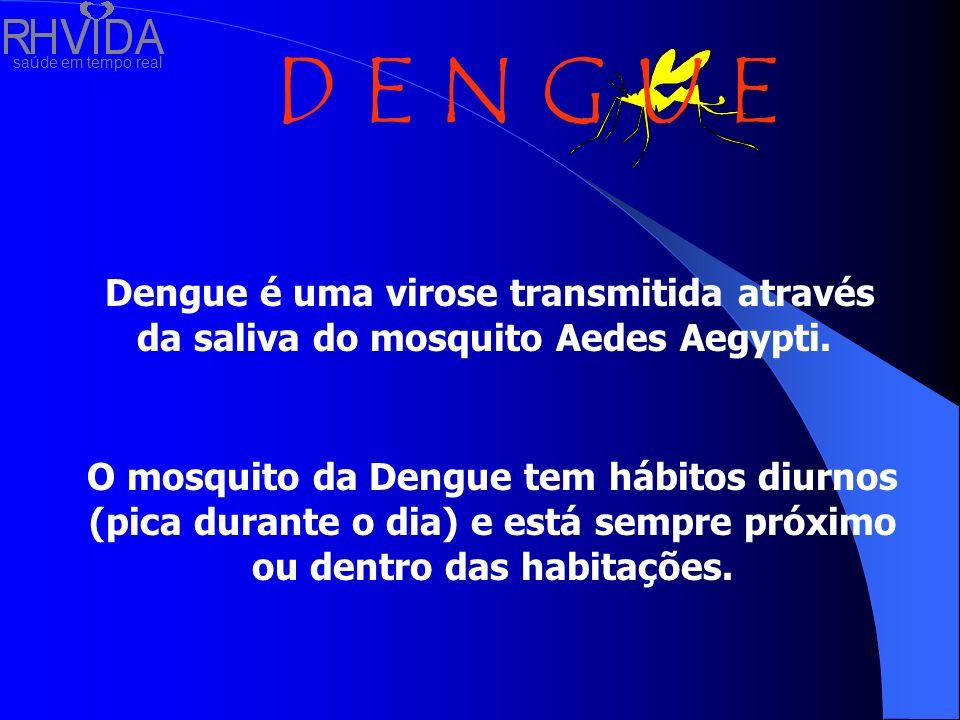saúde em tempo real D E N G U E Dengue é uma virose transmitida através da saliva do mosquito Aedes Aegypti. O mosquito da Dengue tem hábitos diurnos