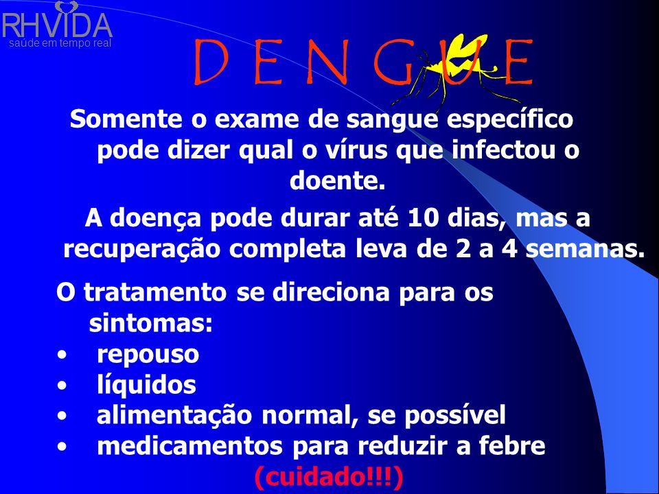 saúde em tempo real D E N G U E Somente o exame de sangue específico pode dizer qual o vírus que infectou o doente. A doença pode durar até 10 dias, m