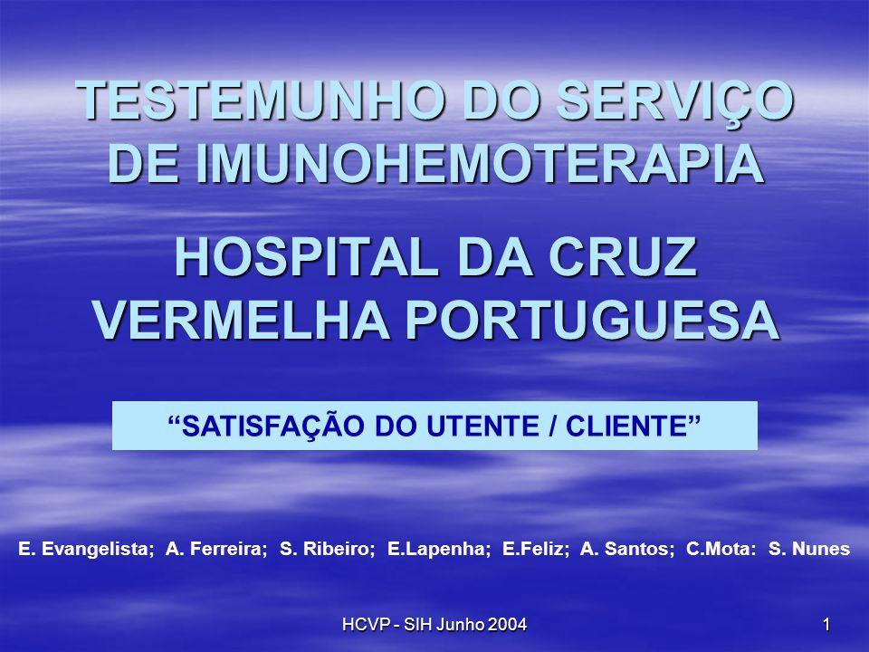 HCVP - SIH Junho 2004 1 TESTEMUNHO DO SERVIÇO DE IMUNOHEMOTERAPIA HOSPITAL DA CRUZ VERMELHA PORTUGUESA SATISFAÇÃO DO UTENTE / CLIENTE E. Evangelista;