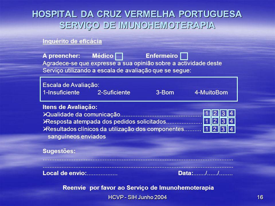 HCVP - SIH Junho 200416 Inquérito de eficácia A preencher: Médico Enfermeiro Agradece-se que expresse a sua opinião sobre a actividade deste Serviço u