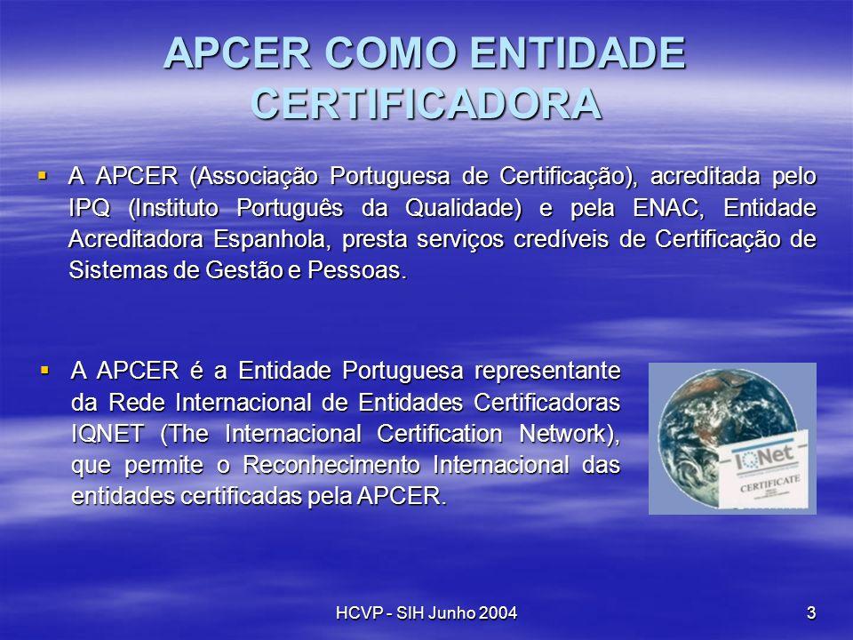HCVP - SIH Junho 20043 APCER COMO ENTIDADE CERTIFICADORA AAPCER (Associação Portuguesa de Certificação), acreditada pelo IPQ (Instituto Português da Q