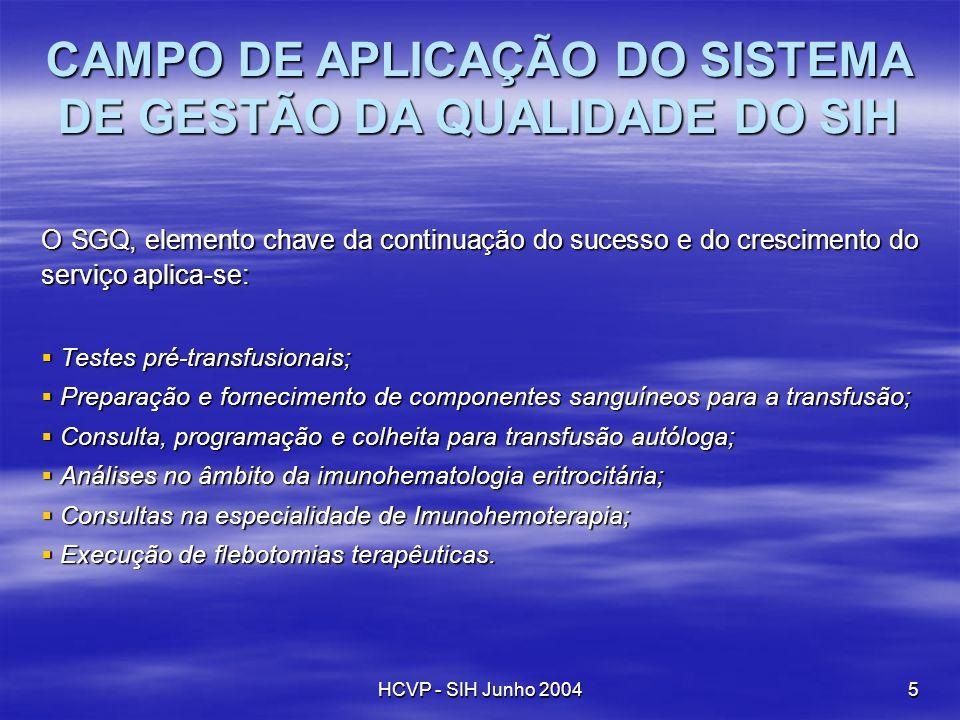 HCVP - SIH Junho 20045 O SGQ, elemento chave da continuação do sucesso e do crescimento do serviço aplica-se: Testes pré-transfusionais; Testes pré-tr