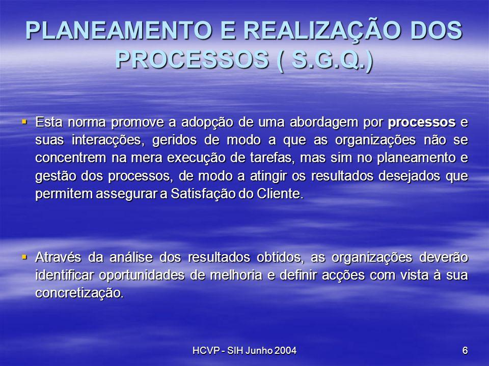 HCVP - SIH Junho 20046 Esta Esta norma promove a adopção de uma abordagem por processos processos e suas interacções, geridos de modo a que as organiz