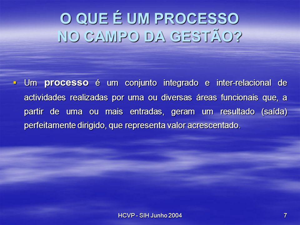HCVP - SIH Junho 20047 O QUE É UM PROCESSO NO CAMPO DA GESTÃO? Um processo é um conjunto integrado e inter-relacional de actividades realizadas por um
