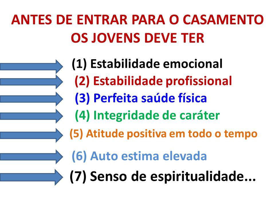 ANTES DE ENTRAR PARA O CASAMENTO OS JOVENS DEVE TER (1) Estabilidade emocional (2) Estabilidade profissional (3) Perfeita saúde física (4) Integridade