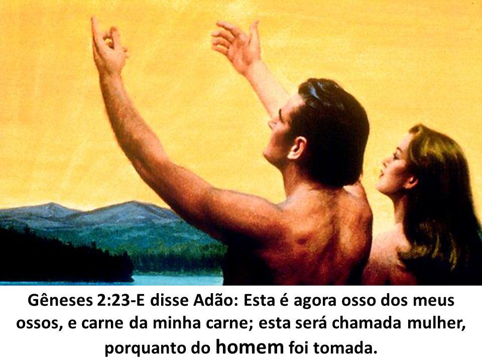 Gêneses 2:23-E disse Adão: Esta é agora osso dos meus ossos, e carne da minha carne; esta será chamada mulher, porquanto do homem foi tomada.