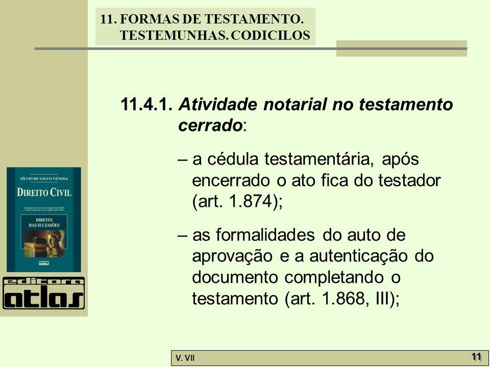 11. FORMAS DE TESTAMENTO. TESTEMUNHAS. CODICILOS V. VII 11 11.4.1. Atividade notarial no testamento cerrado: – a cédula testamentária, após encerrado