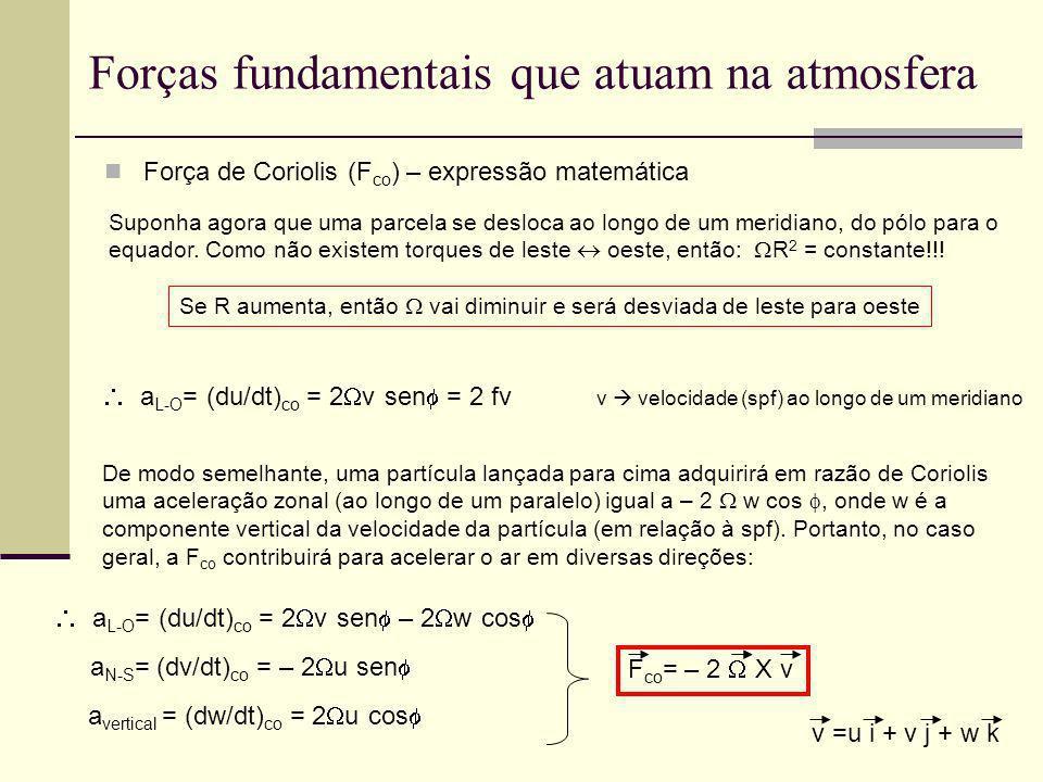 Forças fundamentais que atuam na atmosfera Força de Coriolis (F co ) – expressão matemática Suponha agora que uma parcela se desloca ao longo de um me