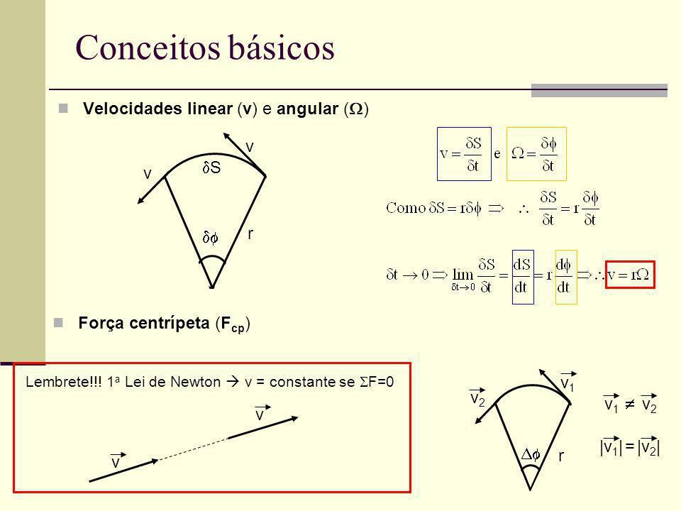 Conceitos básicos Força centrípeta (F cp ) v1v1 v2v2 a t v1v1 v2v2 r v1=v2=v Conservação do momento angular (L) a=a cp + a t O momento angular (L) de uma partícula em relação a um referencial é o produto vetorial do vetor posição (r) pela quantidade de movimento (p) da dita partícula L = r X p onde: p = mv eL é perpendicular a r e p Lei da conservação do momento angular: O momento angular de um sistema permanece constante, a menos que seja aplicado um torque externo a esse sistema.