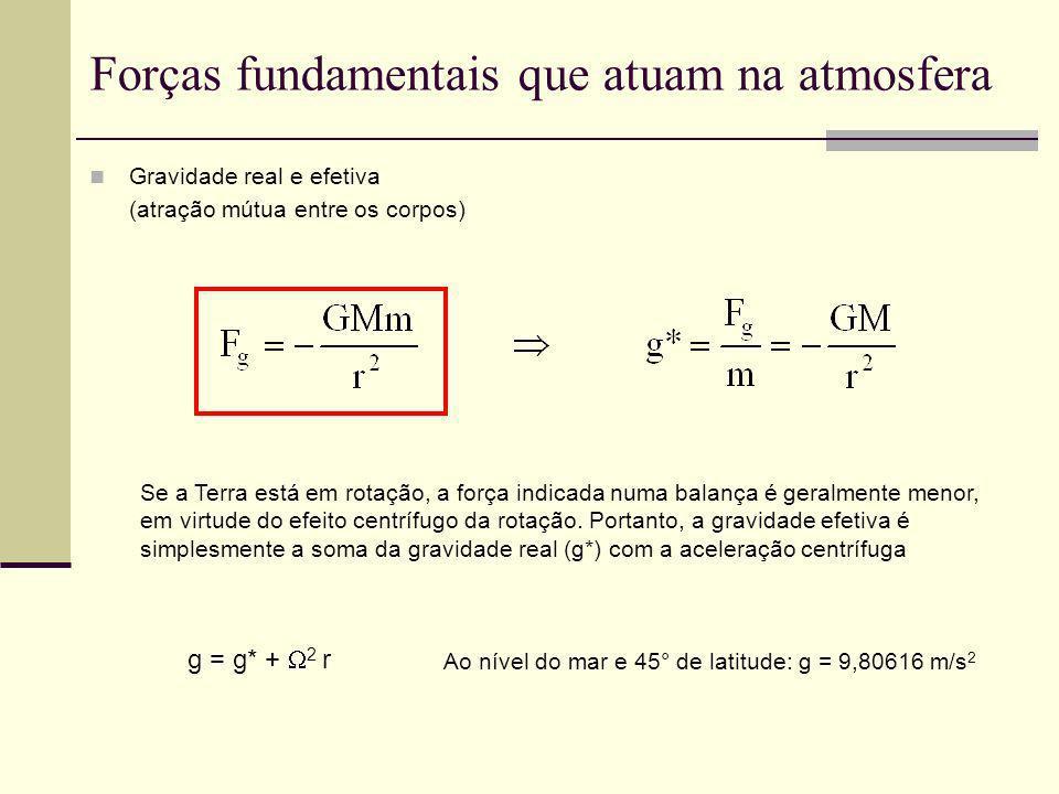 Exercício – Vento gradiente f = 2 Ω sen20° = 4,98.10 –5 s ρ = 1,25 kg/m 3 p/n = 50*10 2 /10 5 = 0,05 Pa/m v g = (1/ρf)(p/n) = [1/(1,25* 4,98.10 –5 )]*(0,05) = 820 m/s Se as trajetórias do ar forem consideradas circulares em torno do centro da temperatura: Numa região a 50 km do centro de um intenso furacão, há um gradiente de pressão radial de 50 mb por 100 km.