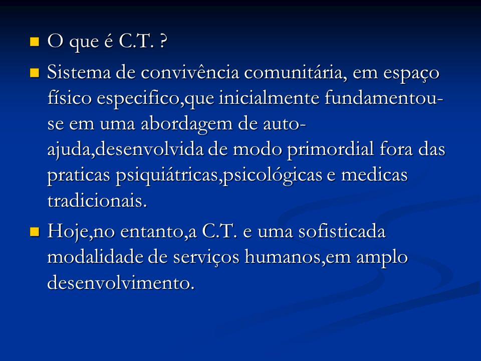 O que é C.T. ? O que é C.T. ? Sistema de convivência comunitária, em espaço físico especifico,que inicialmente fundamentou- se em uma abordagem de aut
