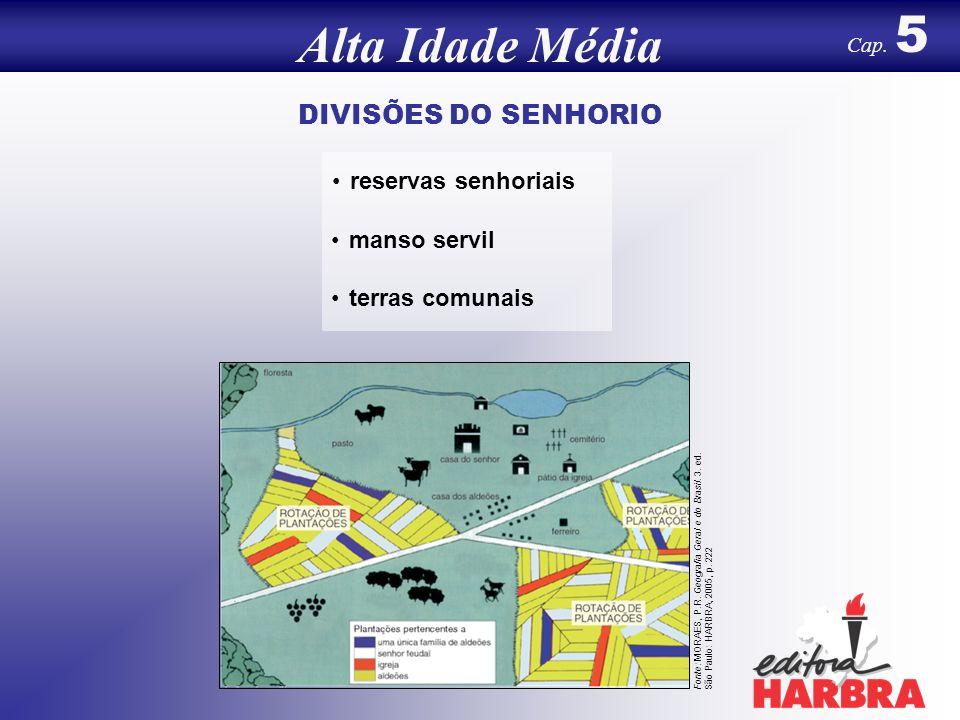 DIVISÕES DO SENHORIO reservas senhoriais manso servil terras comunais Alta Idade Média Cap.