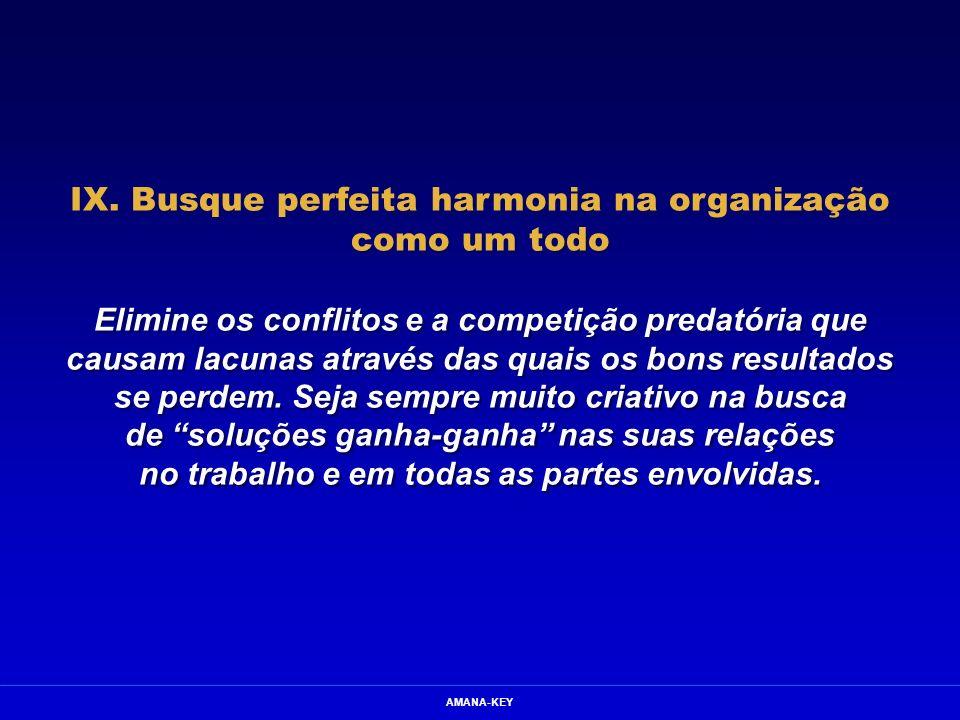 AMANA-KEY IX. Busque perfeita harmonia na organização como um todo Elimine os conflitos e a competição predatória que causam lacunas através das quais