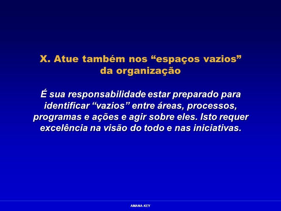 AMANA-KEY X. Atue também nos espaços vazios da organização É sua responsabilidade estar preparado para identificar vazios entre áreas, processos, prog