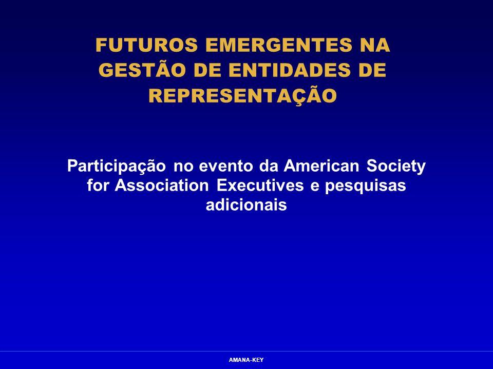 AMANA-KEY FUTUROS EMERGENTES NA GESTÃO DE ENTIDADES DE REPRESENTAÇÃO Participação no evento da American Society for Association Executives e pesquisas