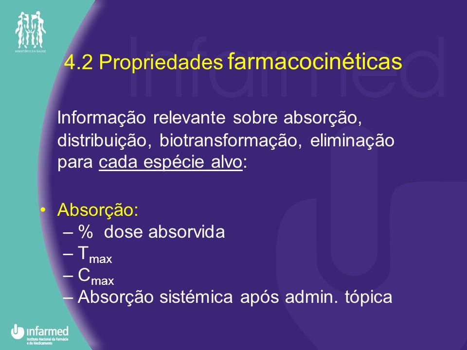 4.2 Propriedades farmacocinéticas Informação relevante sobre absorção, distribuição, biotransformação, eliminação para cada espécie alvo: Absorção: –%
